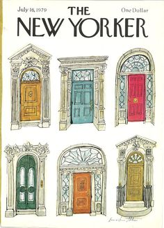 New Yorker cover by Laura Allen shows doors around NYC 7/16/79 Ready to frame.. $7.00, via Etsy.