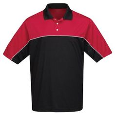 Men's 100% polyester color blocking polo shirt, Red/black Small