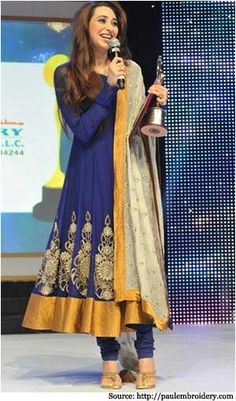 Karishma Kapoor in blue designer wear anarkali suit