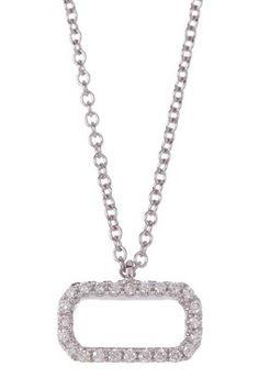 18K White Gold Pave Diamond Oval Pendant Necklace - 0.07 ctw