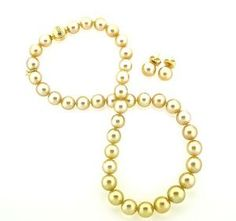 Mikimoto Golden South Sea Pearl Necklace & Matching Pearl Studs! Exceptional & Stunning **$19,995** Price Reduced!  Comes with Box, Pouch for earrings & Cleansing Cloth ~ All Authentic
