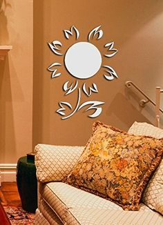 DIY Nursery Daisy Sunflower Removable Acrylic Mirror Wall Sticker * Want to know more, visit the site now : home diy improvement