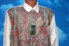 Cross Link Hip Hop Abstract DEADSTOCK New Button Up Medium Shirt Vintage 1990s by nodemo