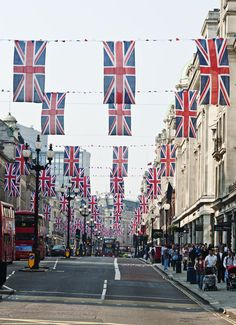I adore it when towns celebrate with festive banners/bunting like this. #UK #Britain #England #Diamond #Jubilee