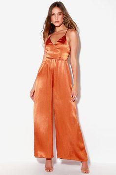 2503c758c4a Duboce Rust Orange Satin Wide-Leg Jumpsuit Prom Jumpsuit, Backless Jumpsuit,  Jumpsuit Outfit
