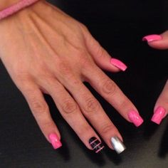 Retro nail art pink silver black OPI