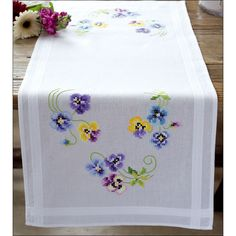 Vervaco Table Runner Stamped Embroidery Kit Pansies Image 1 of 1 Types Of Embroidery, Vintage Embroidery, Embroidery Stitches, Embroidery Patterns, Hand Embroidery, Cross Stitch Kits, Cross Stitch Designs, Cross Stitch Patterns, Hardanger Embroidery