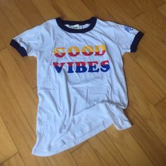 """PINK Gimme Good Vibes Tee 70's style ringer tee saying """"GOOD VIBES"""" PINK Victoria's Secret Tops Tees - Short Sleeve"""