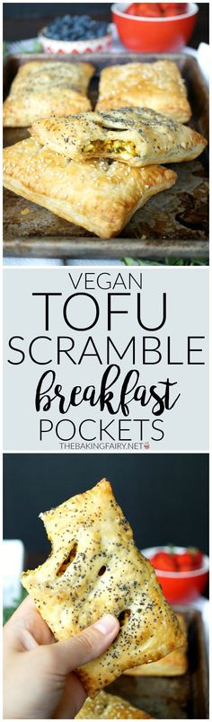 vegan tofu scramble breakfast pockets | The Baking Fairy
