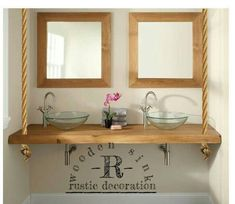 interior Bathroom Decoration, wood bathroom countertops, wooden Rope table Sink - Flying Sink Real D Rustic Interior Design Bathroom, Custom Bathroom, Bathroom Styling, Bathroom Countertops, Simple Bathroom Decor, Bathroom Countertops Diy, Rustic Sink, Bathroom Decor, Wood Bathroom