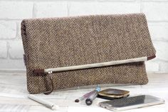 24c58e7ef7 Harris Tweed Fold-over zipped large clutch bag in natural cream twill tweed
