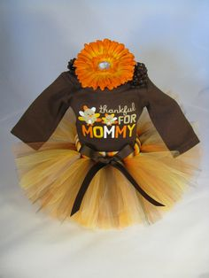 """Babys First Thanksgiving Outfit """" Thankful for My Mommy """" - Girls Tutu Bodysuit and Headband Set - Size 0 - 3 Months on Etsy, $38.00"""