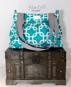 Turquoise Chainlink Diaper Bag  - Stroller Bag - Bags and Purses - Baby Bag SKU: DB002CLT FREE SHIPPING