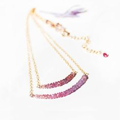 Pink and Purple Ombre Sapphire Necklace in Gold, Ombre Gemstone Necklace, Double Strand Necklace, September Birthstone, Delicate Necklace, Minimalist Jewelry, Dainty Bohemian Gemstone Jewelry, Gift -  Beautiful, alluring yet minimal layered necklace!  These tiny gorgeous pink and purple Sapphire rondelles are carefully hand-picked to create a beautiful ombre effect for this charming necklace, designed with double strand layered bar style and hung on delicate 14K Gold Filled chains that…