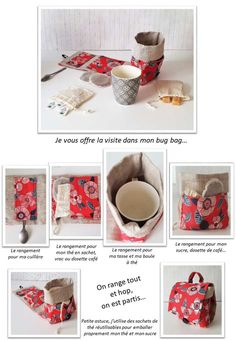 Le mug bag - Fabric Crafts, Sewing Crafts, Quilted Gifts, Diy Mugs, Creation Couture, Sewing Projects For Kids, Sewing Accessories, Mug Rugs, Diy And Crafts