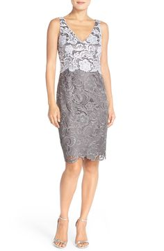 Adrianna Papell Colorblock Floral Lace Sheath Dress
