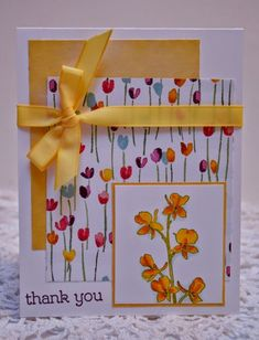 Stampin' Up! Happy Watercolor stamp set with Painted Blooms paper handmade thank you card by aisha