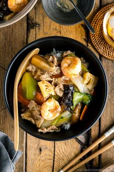 Chukadon is a Chinese-style rice bowl dish made of stir-fried seafood, meat, and vegetables. Cooked in a soy-infused sauce, it has all the flavors of your favorite take-out! #chukadon #ricebowl #stirfry   Easy Japanese Recipes at JustOneCookbook.com