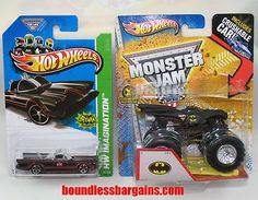 HOT WHEELS LOT OF 2 BATMOBILES    ADD THESE REALLY COOL VEHICLES TO YOUR COLLECTION    1) 2013 HW IMAGINATION CLASSIC TV SERIES BATMOBILE    2) 2012 MONSTER JAM BATMOBILE MONNSTER TRUCK W/ CRUSHABLE CAR    THESE CARS ARE IN THEIR ORIGINAL PACKAGING AND AS YOU CAN SEE BY THE PHOTOS ARE IN GREAT CONDITION, $14.88
