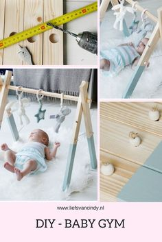 Make a baby gym yourself with this clear explanation. This DIY baby gym is not difficult at all Montessori Baby, Baby Bedroom, Baby Room Decor, Baby Room Diy, Baby Play, Baby Toys, Diy Baby Gym, Diy Bebe, Baby Presents