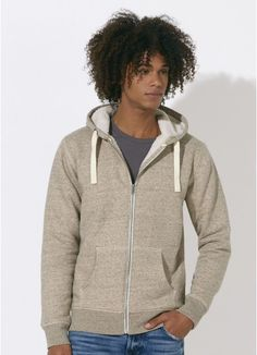 Beren men's super warm zip hoodie in Slub Mid Heather Clay. Made in Bangladesh, #fairtrade with #organiccotton. Sherpa lining made with 100% #recycledpolyester.