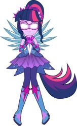 Size: 4579x7529 | Tagged: absurd res, artist:limedazzle, boots, clothes, crystal wings, dress, equestria girls, glasses, glowing eyes, high heel boots, human twilight, legend of everfree, ponytail, safe, simple background, smiling, solo, sparkles, spoiler:legend of everfree, stars, super ponied up, transparent background, twilight sparkle, vector, wings