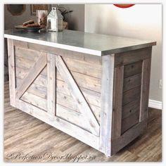 DIY Rustic Bar from an IKEA Cabinet - love the metal countertop!