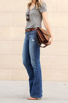 Flare Jeans. Distressed | BrooklynBlonde