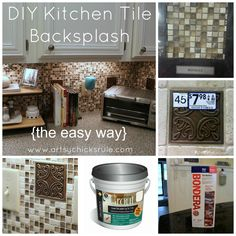 Easy & Awesome Kitchen Tile Backsplash Tutorial from Artsy Chicks Rule #pinoftheday #freshideastudio
