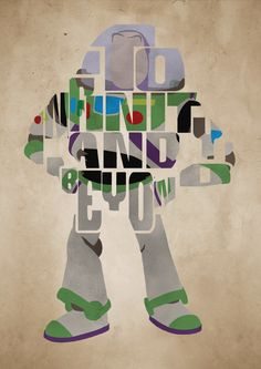Buzz Lightyear Toy Story Poster - Minimalist Typography Poster Movie Poster Art Print Illustration Wall Art