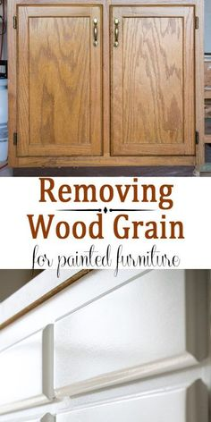 painted furniture- Removing Wood Grain Texture -How to get a nice smooth finish when painting cabinets or furniture that has a strong wood grain Part 1 of a 2 part series on painting oak cabinets bought off of craigslist - DIY Craft Ideas Painting Wood Cabinets, Plywood Cabinets, Oak Kitchen Cabinets, Kitchen Furniture, Rustic Furniture, Painted Furniture, Diy Furniture, Furniture Removal, Painted Oak Cabinets