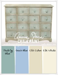 COLORWAYS   Small Tapletop chest painted with Annie Sloan Chalk Paint. Duck Egg Blue, Louis Blue, Old Ochre, Old White. Clear and Dark Wax