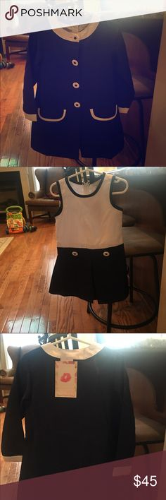 Chic Toddler Dress It is a navy and white dress with a beautiful overcoat. Never worn. Sweet Heart Rose Dresses