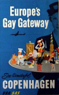 Copenhagen Europe's Gay Gateway, 1950s - original vintage Scandinavian Airlines System (SAS) poster listed on AntikBar.co.uk