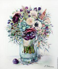 Купить Лиловые анемоны и травы - бледно-сиреневый, лиловый, нежность, нежно-розовый, нежно-голубой