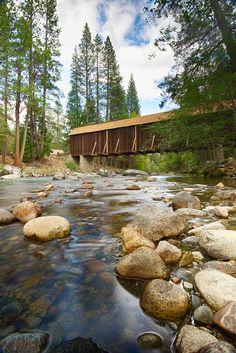 California -- Yosemite National Park -- Mariposa County -- Wawona -- Wawona Covered Bridge (built 1868)