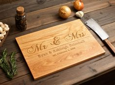 Great gift idea!    Mr & Mrs Personalized Cutting Board  12x16  Valentine's by WoodInk. , via Etsy.