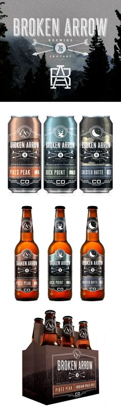 Broken Arrow beer packaging by SDF Design --- I like the font and the use of arrows in this