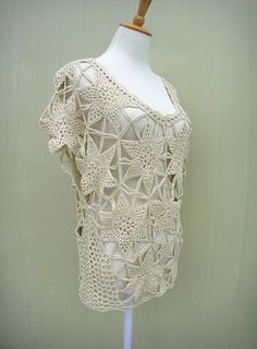 Boho Short Sleeve Crochet Floral Lace Blouse
