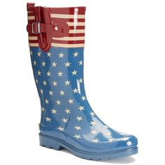 Western Chief Women's Waterproof Rain Boots ($45) ❤ liked on Polyvore featuring shoes, boots, blue red white, lined rain boots, wellington boots, waterproof boots, red rain boots and print rain boots