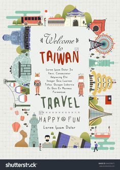 Lovely Taiwan Travel Poster Design With Famous Attractions Stock Vector Illustration 344259671 : Shutterstock