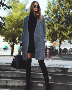 A Black Sweater Dress, a Gray Cardigan, and Black Over-the-Knee Boots