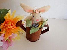 Rabbit in Watering Can Figurine White Stuffed Fabric Bunny