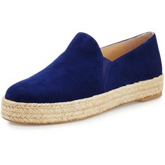 Stuart Weitzman Nugal Napa Espadrille Sneaker (€375) ❤ liked on Polyvore featuring shoes, sneakers, sapphire, stuart weitzman espadrilles, slip-on sneakers, stuart weitzman, espadrilles shoes and woven sneakers
