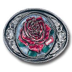 Western Belt Buckles   Classic Western Rose Belt Buckle Vintage USA Free Ship Cool Stylish $ ...