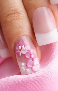 Pink gemstone nail art for Valentines Day.