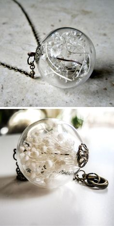 Baby's Breath Glass Orb Necklace