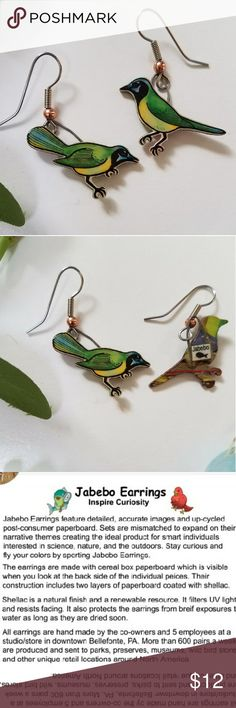Jabebo Green Jay Earrings, PRICE FIRM Nature-inspired earrings, made of shellaced cereal boxes! and surgical steel wires. See third picture for more info about Jabebo earrings. 7/8 inch. Price firm unless bundled. Jabebo Jewelry Earrings