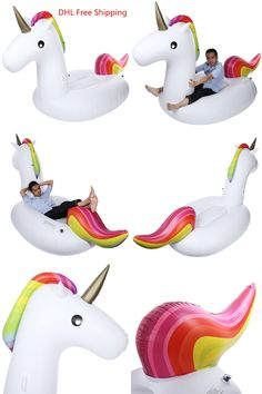 [Visit to Buy] 275cm Inflatable Giant Unicorn Air Mattresses Air Sofa Floating Rideable Swimming Pool Toy Float Raft for Beach Holiday Ring #Advertisement