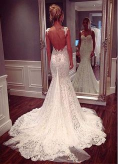 Amazing Tulle Spaghetti Straps Neckline Mermaid Wedding Dresses with Lace Appliques